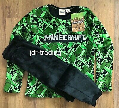 OFFICIAL MINECRAFT CREEPER Boys Girls Kids Soft Fleece Pyjamas Ages 5-15 Yrs