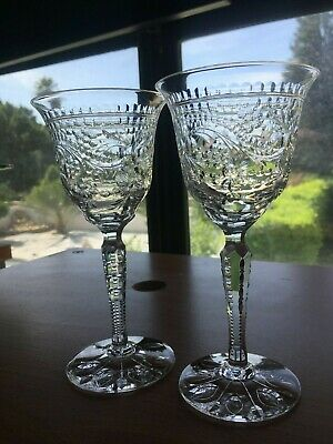 SET 4(four) Antique T. Webb cut crystal wine English stemware