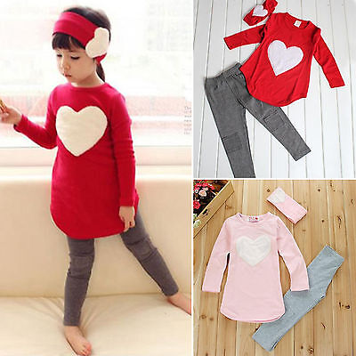 3Pcs Kids Baby Girls Outfits Clothes Heart Shirts Tops + Pants + Headband Sets