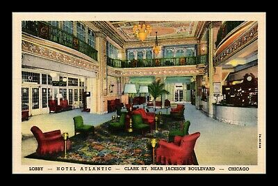 Dr Jim Stamps Us Lobby Hotel Atlantic Chicago Illinois Linen View Postcard