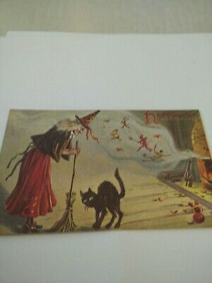 repro vintage postcard Halloween witch black cat broom Evergreen Press 13¢ stamp