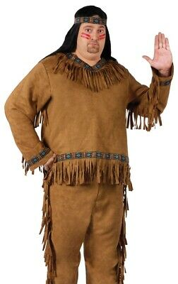 Adult Native American Indian Warrior Brave Costume - Big & Tall Plus Size XL