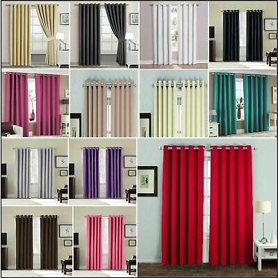 Blackout Curtains Thermal Ready Made Eyelet Top Ring Top Luxury Curtains Pair GC