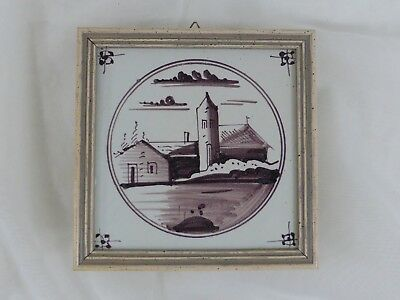 Old Tile Delft Tile Houses Manganese Painting - from Estate Motif 180