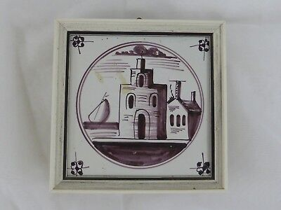 Old Tile Delft Tile Tower Home Manganese Painting - from Estate Motif 176