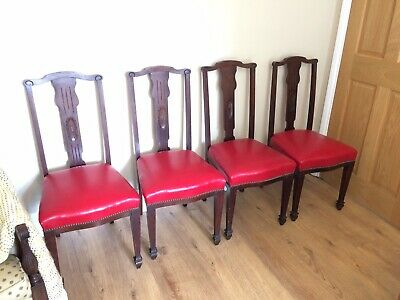 set of four 4x Victorian dining chairs Red Leather Seats Georgian Revival 19th C