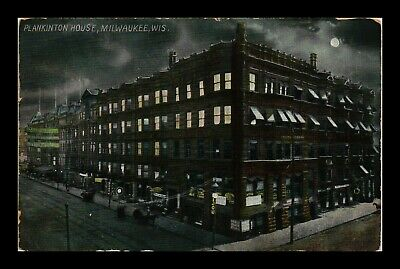 Dr Jim Stamps Us Plankinton House Milwaukee Wisconsin Night View Postcard
