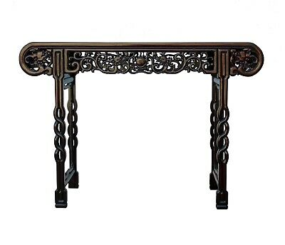 Asian Carved Huali Wood Double Dragon Chasing Fire Ball Altar Table n409