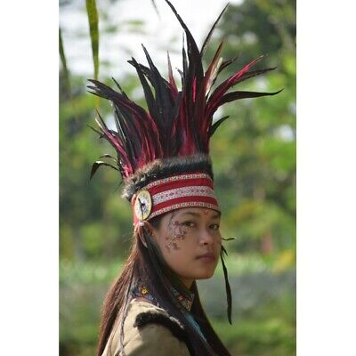 Red Black Indian Apache Warbonnet Feather Headdress Halloween Native American