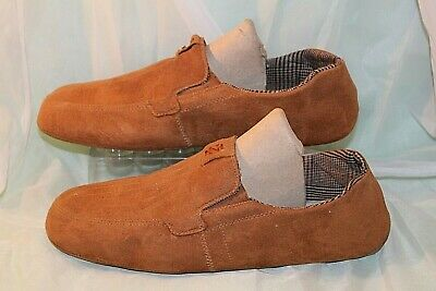 Izod Mens Slippers Brown Suede/Faux~Size Large 12/13~Slip on House Shoes~p50