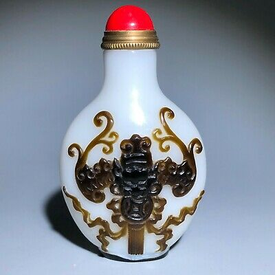 Chinese Old Coloured Glaze Emboss Fortune Bats Handwork Collectible Snuff Bottle