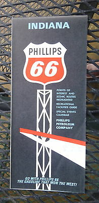 1966 Indiana road  map  Phillips 66  oil gas events calendar early interstate