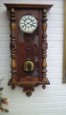 Antique Wall Clock fully working,white dial,mahogany body.