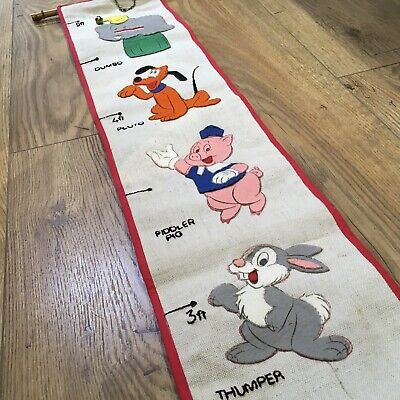 Vintage Hand Made Embroidered Felt Childs Disney Height Chart Wall Hanging