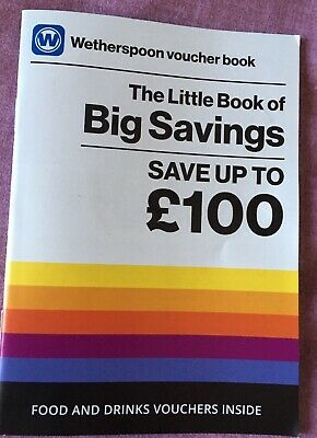 Wetherspoons Voucher Booklet £100 Of Savings. Valid until 31st Oct 2x For £1.50