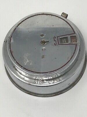 """Vintage 1942 Round Metal Coin Still Bank W/ Key & Coin Counter """"Add A Bank"""""""