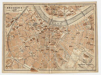 1910 Original Antique Map Of Downtown Dresden Saxony Germany