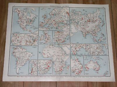 1912 Antique World Map Of Mineral Resources Gold Silver Diamonds Petrol Oil Coal