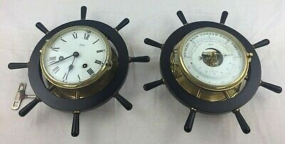 SCHATZ Royal Mariner Ships Wheel Brass Clock & Barometer / Thermometer Set - GC