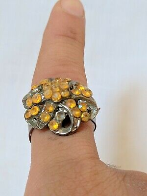 Ancient Ring African Metal Artifact Very Old With Stunning Stones Extremely Rare