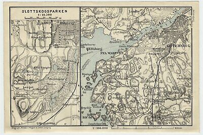 1909 Original Antique Map Of Vicinity Of Gothenburg Goeteborg Goteborg / Sweden