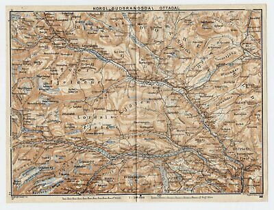 1909 Original Antique Map Of Ottadalen Gudbrandsdalen Valley / Oppland / Norway