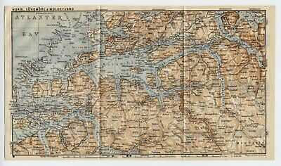 1909 Original Antique Map Of Vicinity Of Alesund Sunnmore Moldefjord / Norway