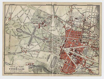 1910 Original Antique Map Of Versailles / Chateau Palace Trianon Gardens France