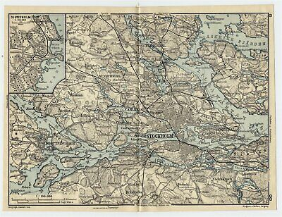 1909 Original Antique Map Of Vicinity Of Stockholm / Sweden