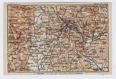 1909 Antique Map Of Vicinity Of Siena / Sienna / Tuscany / Italy