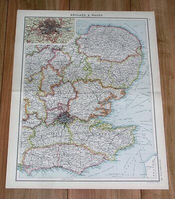 1912 Original Antique Map Of England London Kent Essex Sussex Norfolk Suffolk