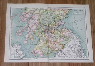 1909 Antique Map Of Southern Scotland / Glasgow Edinburgh Argyll Perth Ayr