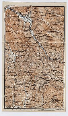 1909 Antique Map Of Vicinity Of Subiaco / Monti Simbruini / Lazio / Italy