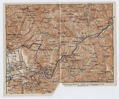 1909 Antique Map Of Vicinity Of Tivoli / Lazio / Italy