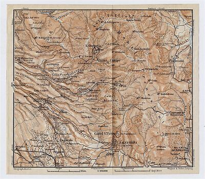 1909 Antique Map Vicinity Of Palestrina Monti Prenestini / Lazio / Italy