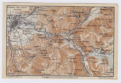 1909 Antique Map Of Vicinity Of Terni / Nera River / Umbria / Italy