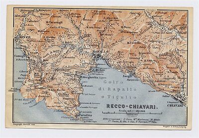 1913 Original Antique Map Of Vicinity Of Rapallo Recco Chiavari Liguria / Italy