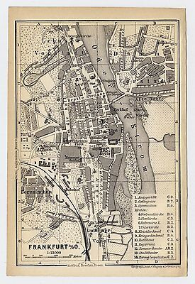 1897 Antique City Map Of Frankfurt An Der Oder / Slubice / Poland Germany
