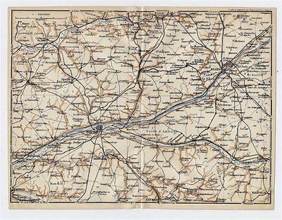 1919 Original Antique Map Of Vicinity Of Tours Blois / Loire / France