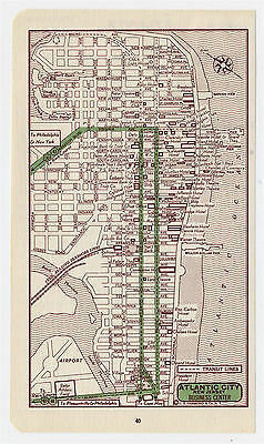 1951 Original Vintage Map Of Atlantic City New Jersey Downtown Business Center