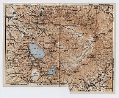1909 Antique Map Vicinity Of Lake Albano Castel Gandolfo Monte Cavo Lazio Italy