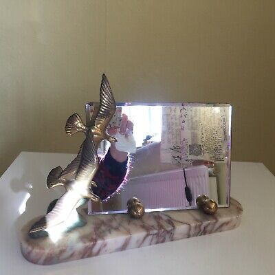 French Art Deco Picture Frame or Bevelled Mirror frame marble & metal