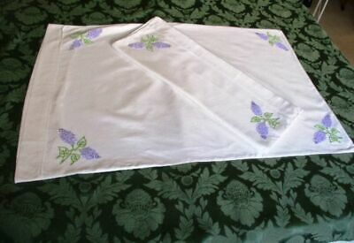 Pr.vintage Pillowcases-White Cotton- Hand Embroidered Lilac