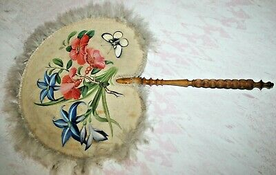 Victorian Large Antique Hand Fan Hand Painted on Satin Wedding Wooden Handle Old
