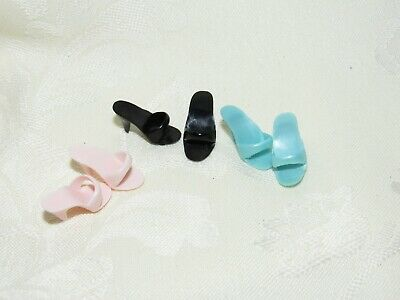 Barbie 3 Pairs Of Shoes High Heel Open Toe Mule Accessory Lot 4 Doll Pink Blue