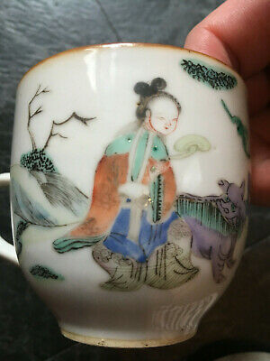 Lovely Antique Chinese 18Th-19Thc Enamel Teacup Character Mark