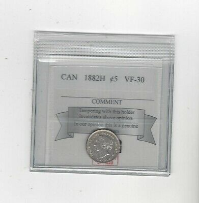 1882H , Coin Mart Graded Canadian,  5 Cent, **VF-30**
