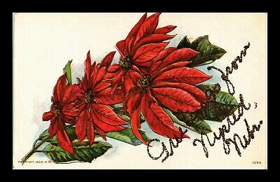 Dr Jim Stamps Us Nysted Nebraska Greetings Embossed Flowers Glittered Postcard
