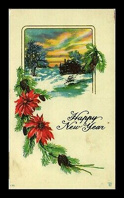 Dr Jim Stamps Us Happy New Year Embossed Topical Winter Scene Postcard