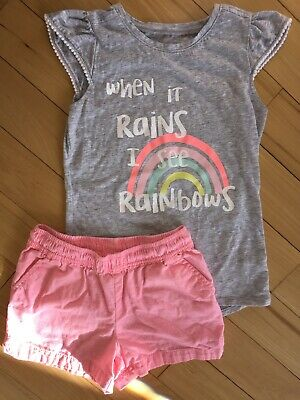 jumping beans Size 7 Girls 2pc Set Rainbow Pastel Shorts and Top